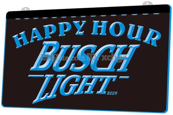 [F761] Busch Light Beer Happy Hour Bar NEUES 3D-Gravur-LED-Lichtzeichen Passen Sie 8 Farben nach Bedarf an