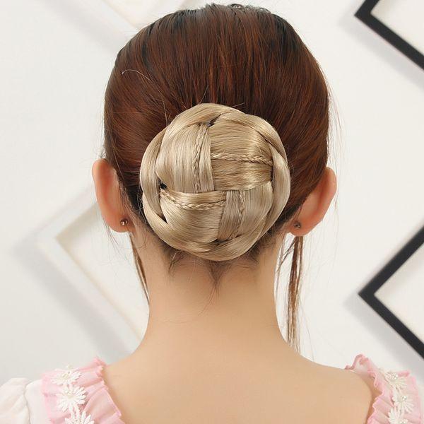 Clip in Chignon Hair Bun 10*6CM 60g Hairpiece Black Brown BLONDE Donut Braided Chignon Buns Hair Extension Updo Synthetic Hair Hairpieces