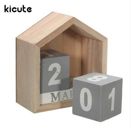 top popular Kicute Fresh Design House Shape Perpetual Calendar Wood Desk Wooden Block Home Office Supplies Decoration Artcraft 2020