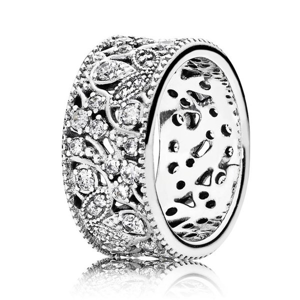 Authentic 925 Sterling Silver Ring Shimmering Leaves Statement With Crystal Rings For Women Wedding Gift Fine Europe Jewelry
