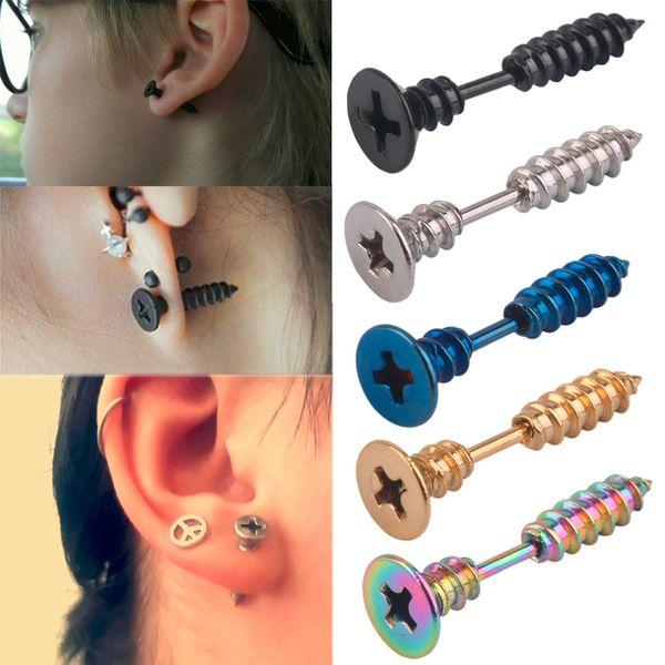 top popular Men Women Unisex Stainless Steel Whole Screw Stud Earring Punk Studs pair 2019