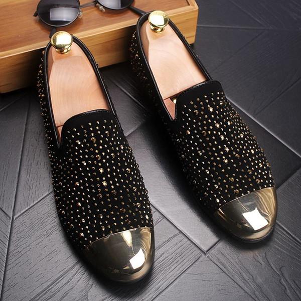 Men Luxury Sequin Metal Toe party buckle Boomers peas feet slacker shoes wedding Loafers Men's Flats