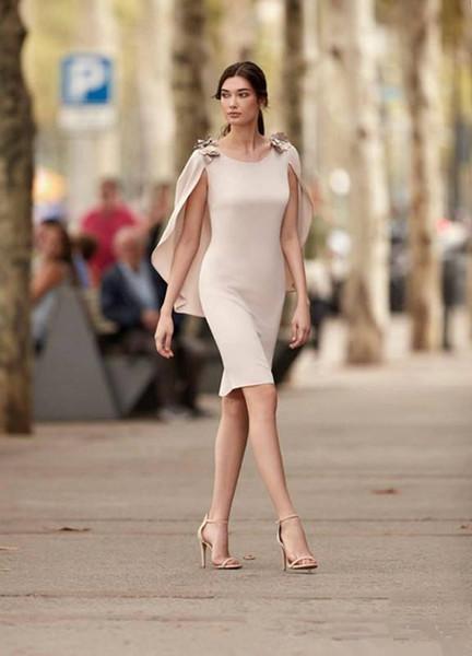 bc9acb36d0f6 Compre 2018 Vestidos De Cóctel Elegante Del Mantón Joya Longitud De La  Rodilla Vestido De La Madre Capped Chiffon Corto Vestidos De Cóctel  Vestidos De ...