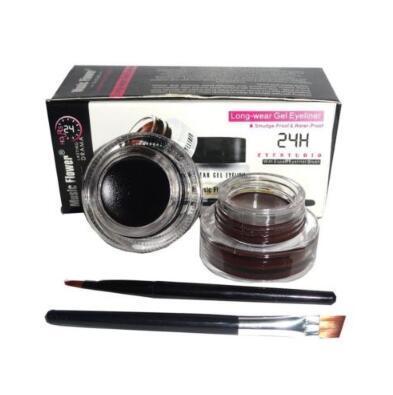 Music Flower Black + Brown Two-color Gel Eyeliner Smudge- Proof Water Proof Eye Liner Eye Liner Eyeliner Gel Makeup Tool CCA8675 100set