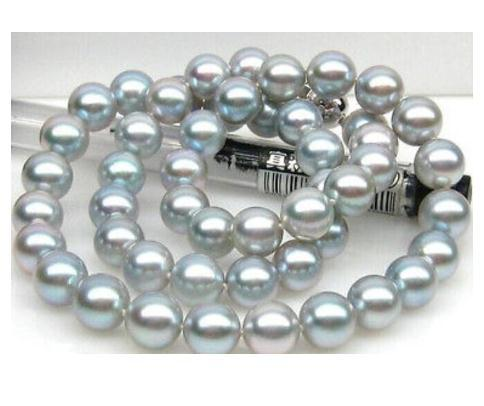 Charming 9-10mm natural round tahitian gray pearl necklace 20inch 925 silver clasp