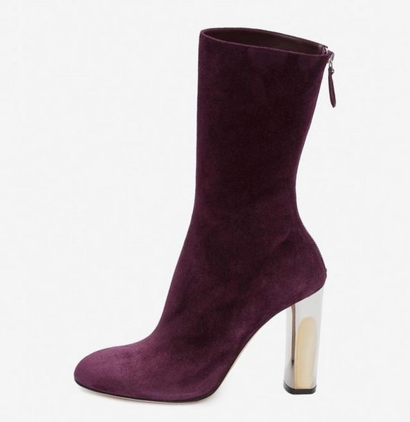 Women High Heel Half Short Ankle Boots Back Zipper Leather Suede Surface Purple Boots Square Silver Heel 8cm Comfortable Women Shoes