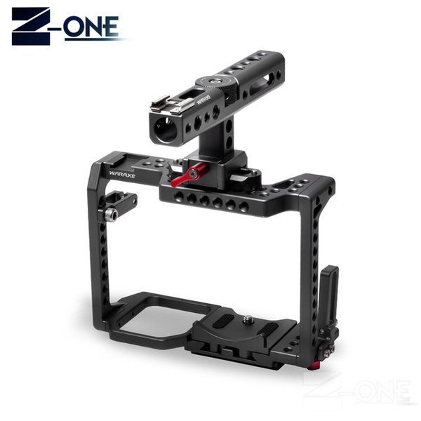 """WARAXE GH5 Kit Camera Cage,for Panasonic GH5 GH4 with NATO Rail Handle Grip and 1/4"""" and 3/8"""" Threaded Holes Cold Shoe Base"""