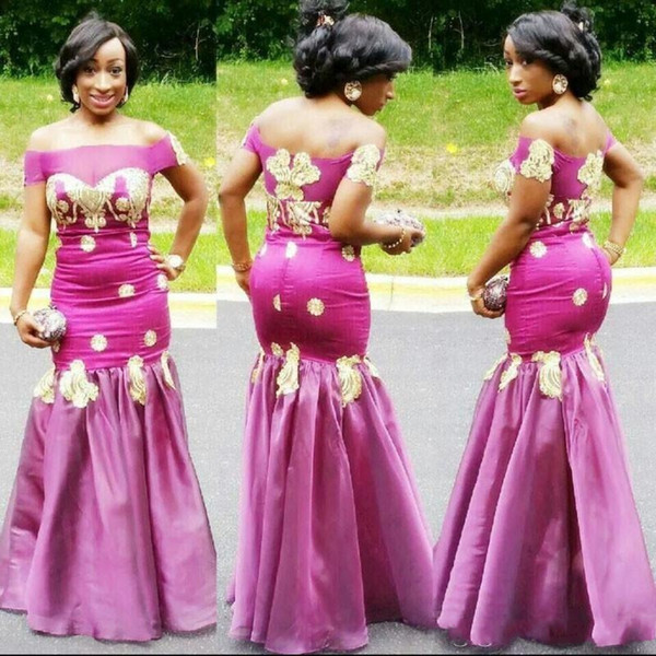 2019 Sexy Fushia Mermaid African Prom Dresses Short Sleeves Gold Appliques Satin Evening Gowns Zipper Back Floor Length Women Formal Wear