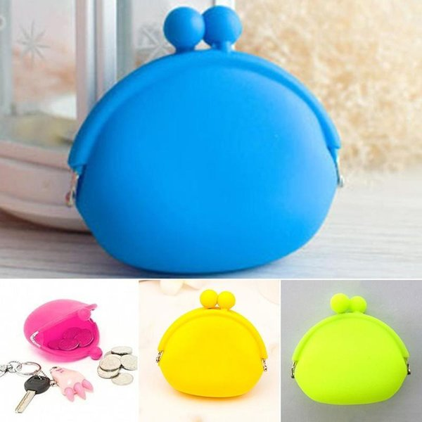 Laamei 2018 New Girls Mini Round Silicone Coin Purse Coin Purse Wallet Card Rubber Key Phone Bagg for Children Kids Gifts