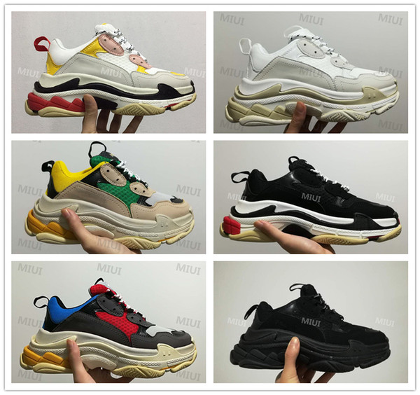 2018 FW Retro Triple S Sneaker Herren Mode Vintage Kanye West Alte Opa Trainer Freizeitschuhe Größe 36-45