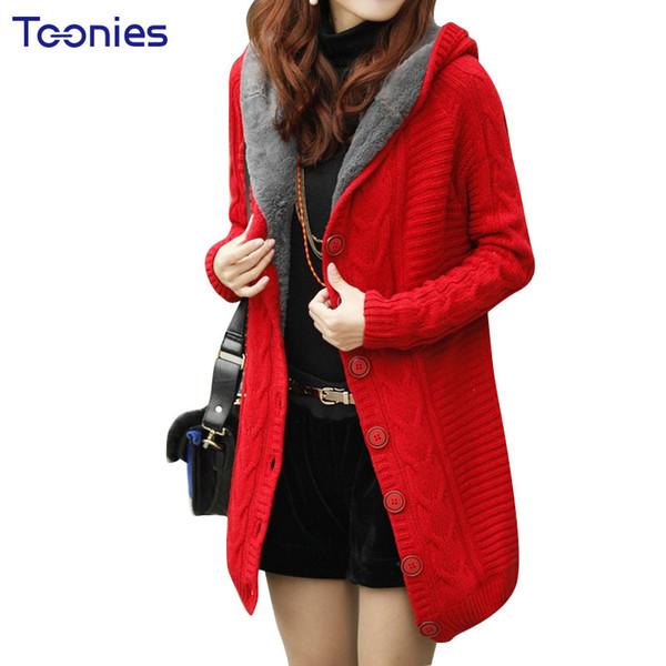 Botones torcidos en la sección larga del nuevo abrigo de suéter de cachemira con chaqueta de punto de invierno más suéteres gruesos de punto para mujer cálida