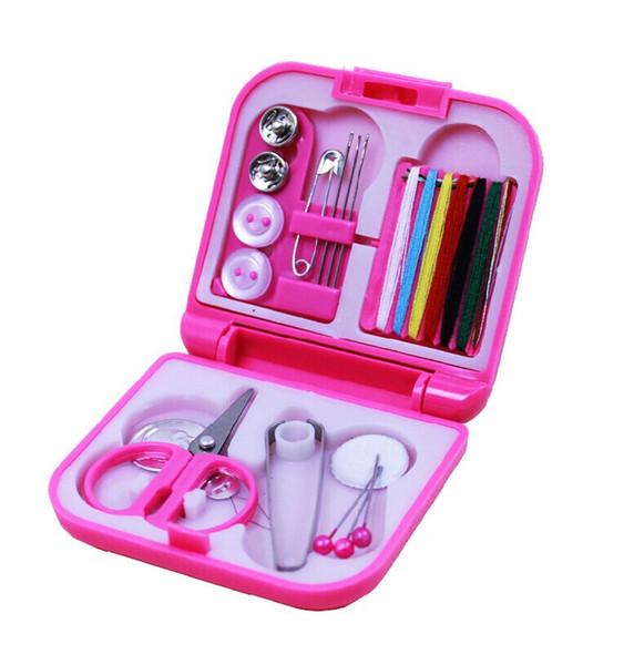 200pcs mini Travel Sewing Kits Box Needle Threads Scissor Thimble Home Tools
