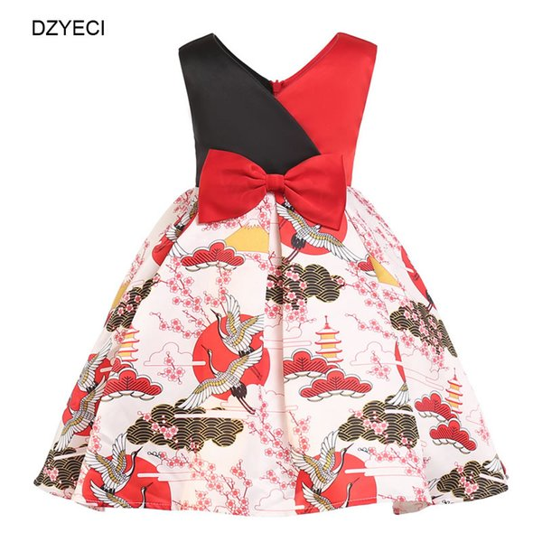 Fashion Crane Vintage Print Dresses For Baby Girl Costumes Up Children Bow Party Wedding Frock Kid Prom Ceremony Gown Wedding Dress