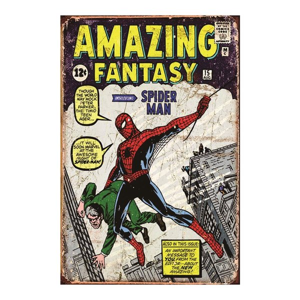 VINTAGE RETRO STYLE METAL TIN SIGN POSTER Marvel SPIDER-MAN 5 CAVE WALL HOME
