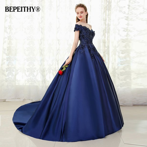 wholesale V-neck Navy Blue Long Evening Dress Lace Beaded Vintage Prom Gowns Vestido De Festa Off The Shoulder Cheap Evening Gown