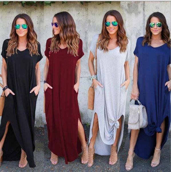 Vestido largo con bolsillo holgado informal para mujer Vestidos largos con manga corta Split con costuras en color liso con cuello en V y horquilla Q37
