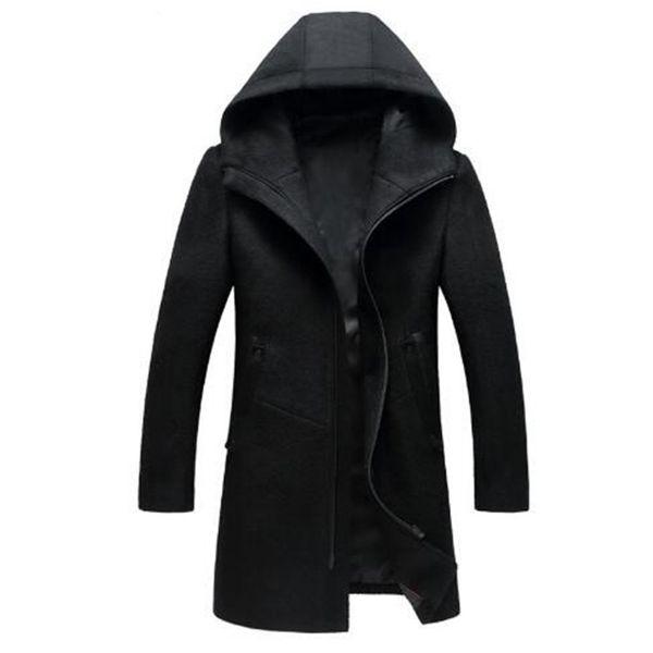 Manteau en laine à capuche pour hommes Manteaux à capuche à la mode pour hommes Vestes Slim Men Longs Manteaux d'hiver Chaud Hoodies Jacket Men