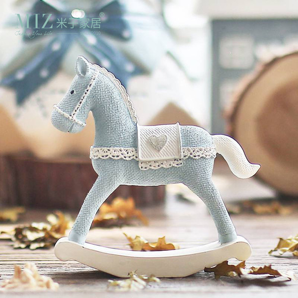 Home Blue Horse Handmade Craft Toy for Children Roly-poly Gift for Kids Christmas Decoration Birthday Gift