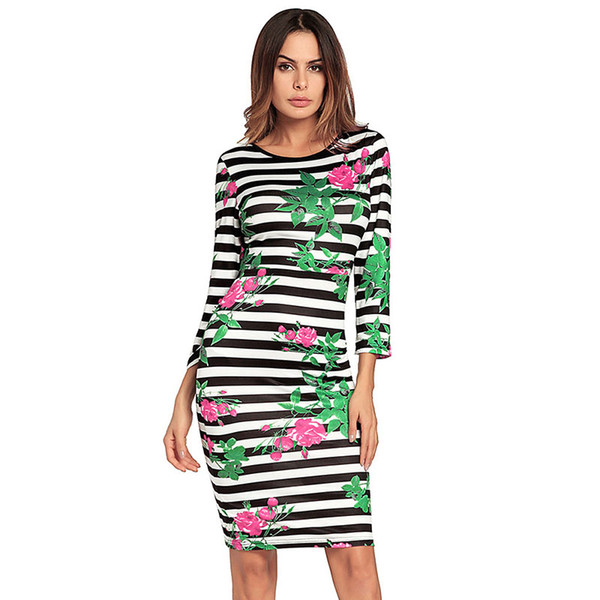 Striped Backless Dress Women Green Floral Printed Dress Black and White Stripe Dress Party Wedding Dresses Cheap Skirt