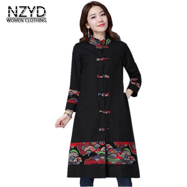 2017 Spring Autumn Women Trench Ethnic style New Fashion Medium long Vintage Thin Coat Print Loose Big yards Female Coat NZYD48
