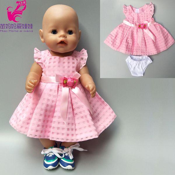 Roupa da boneca 43 cm zapf bebê nascido boneca vestido rosa roupas para 18 polegada american girl dress zapf