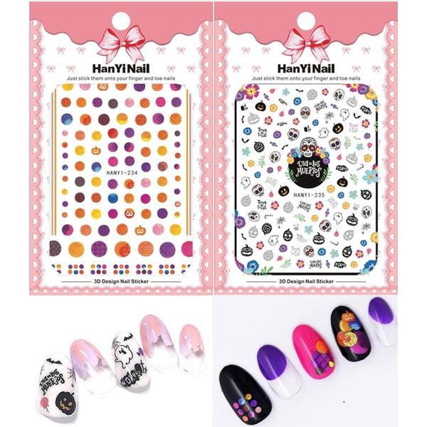 Mybormula 5 Sheet new Halloween Ghost design 3D nail art stickers decals Pumpkin flower skull pattern Decoration slider tattoos