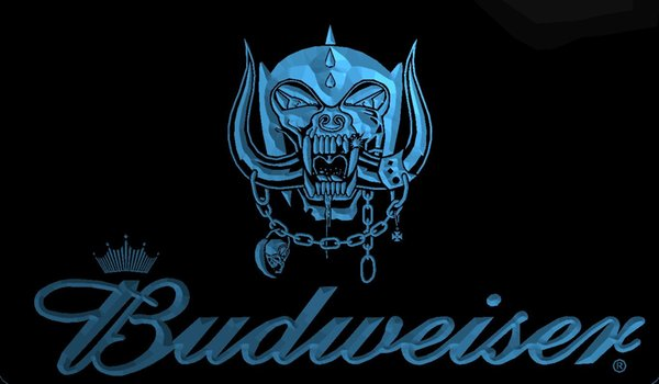 LS1941-b-Skull-Budweisers-Bar-Neon-LED-Light-Sign Decor Free Shipping Dropshipping Wholesale 8 colors to choose