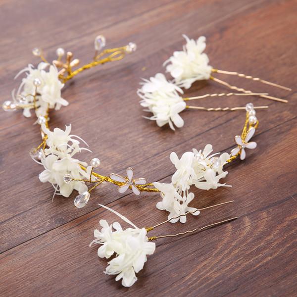 Headwear Crystal Pearl Wedding Bridal Headband Flower Hair Accessories Party Bridal Hairpins Crystal Tiaras Head Piece Hair Decoration
