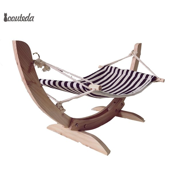 Durable Wooden Cat Bed Assembled Cat House Cozy Plush Hammock For Cats Hanging Swing Cradle Lounger Mat For Small Dog Pet Supply