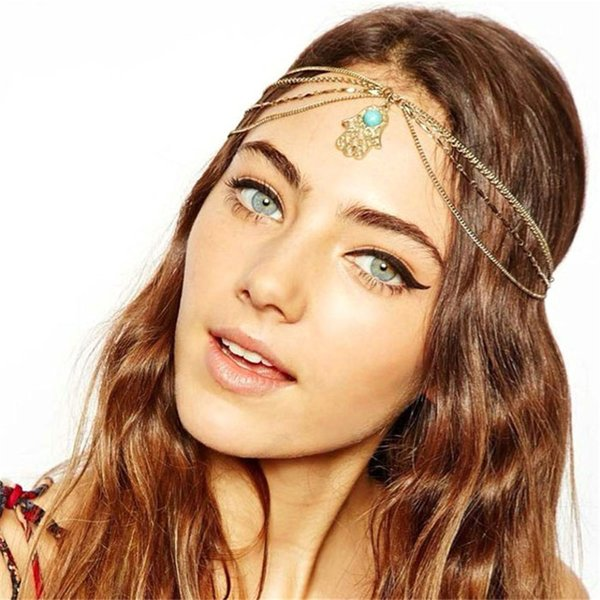 Hair decoration hair band head dress headbands fashion indian boho white/red beaded head piece women chain jewelry 233