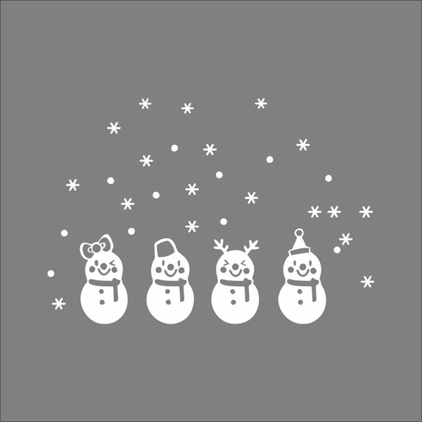 Christmas Snowflake Window Stickers PVC Clings Removable Snowman Wall Decals for Merry Christmas Decoration
