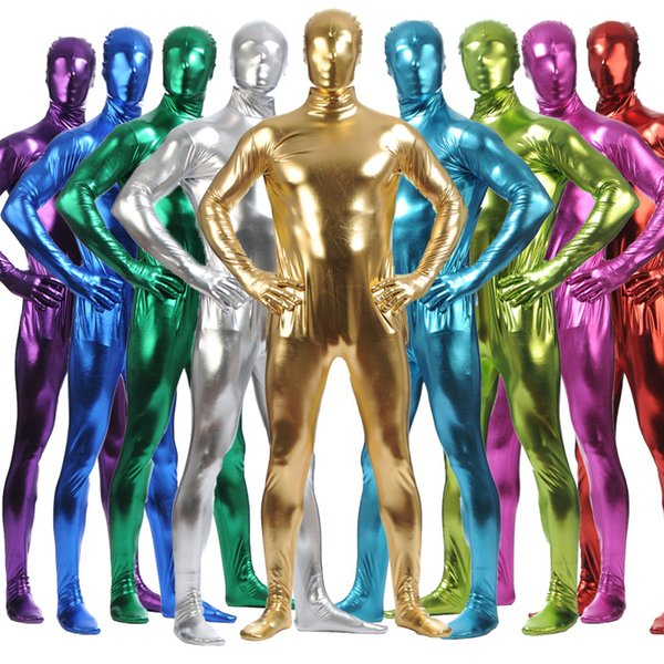 Hot Fashion Adult Men Metallic Lycra Spandex Cosplay Halloween Party Full Body Zentai Jumpsuit Bodysuit Suit Unitard Plugsuit