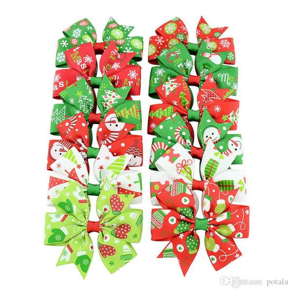 Girls Christmas hairpins Barrettes Pinwheel bow with clip children Kids snowflake snowman hair accessories princess Layered Bow Hair clips