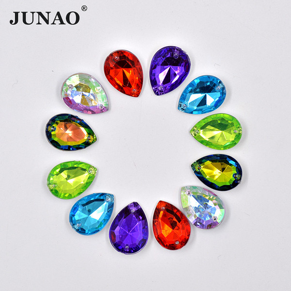 JUNAO 100pcs 13*18mm Sewing Clear AB Drop Rhinestones Applique Pointback Mix Color Acrylic Strass Sew On Crystal Stones for DIY Clothes