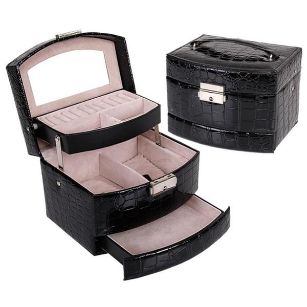 new hot 3 layers Leather makeup organizer Crocodile pattern jewelry storage box cosmetics case birthday present wedding gifts