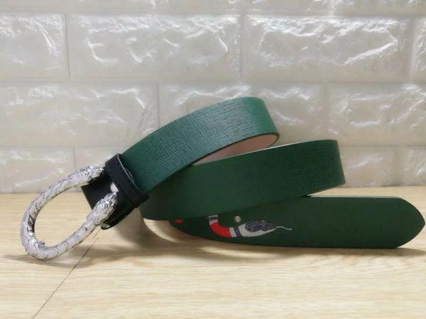 Green snake pattern silver buckle