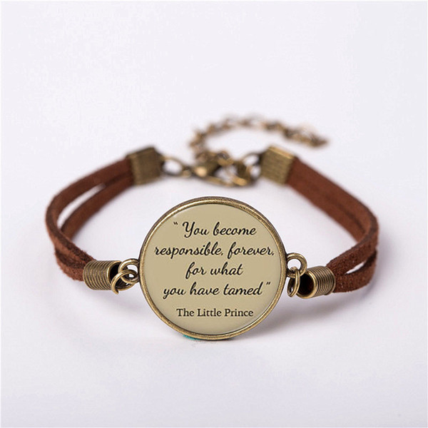 Movie The Little Prince short story Ciondolo Vintage Fashion Leather Bracelet amici Regalo Women Chain Men Drop shipping