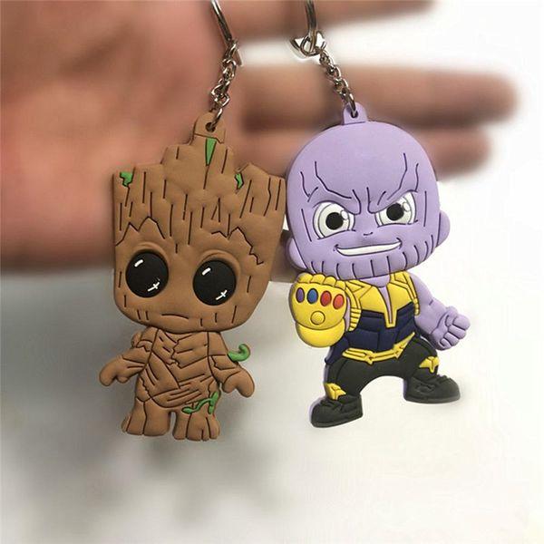 Avengers 3 Infinity War Thanos Black Panther Groot PVC Figuras de Acción Juguetes Muñeca Llavero Niños Regalo Artículos de la novedad