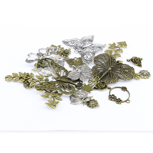 Exquisite 29pcs/lot 5mm Hole-diameter Metal Loose Beads Charm Butterfly DIY Jewelry Accessory Pendant For Keyring Bracelet Necklace