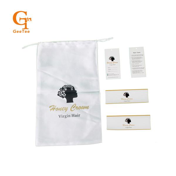 Lüks Bakire Saç demetleri uzantıları ambalaj beyaz saten çanta, paket sarma etiketler etiketleri asmak etiketleri, ambalaj sarma çıkartmalar