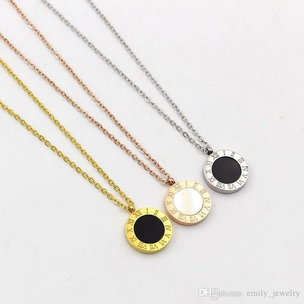 ffbe7ccb41334 Wholesale Exclusive Real Shot Fashion Black And White Shell Item Fashion  Black And White Double Sided Letter Round Roman Roman Numerals Necklace Mom  ...