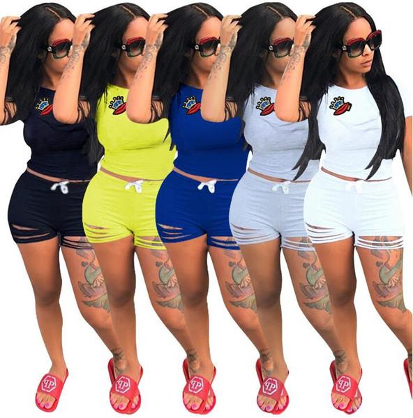 Women Summer Casual Shorts Tracksuit Crown & Lip Gloss Crop Sweatshirt With Ripped Hole Shorts Pant 2pcs set jogger suit GGA439 6sets