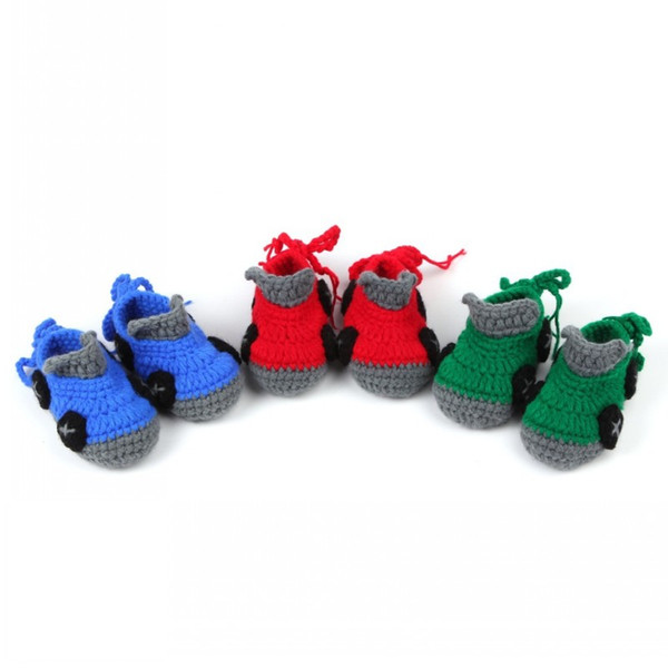 4 Color Fashion Hot Sale Car Design Crib Crochet Casual Baby Shoes First Walkers Handmade Knit Sock Infant Shoes Free DHL D352S