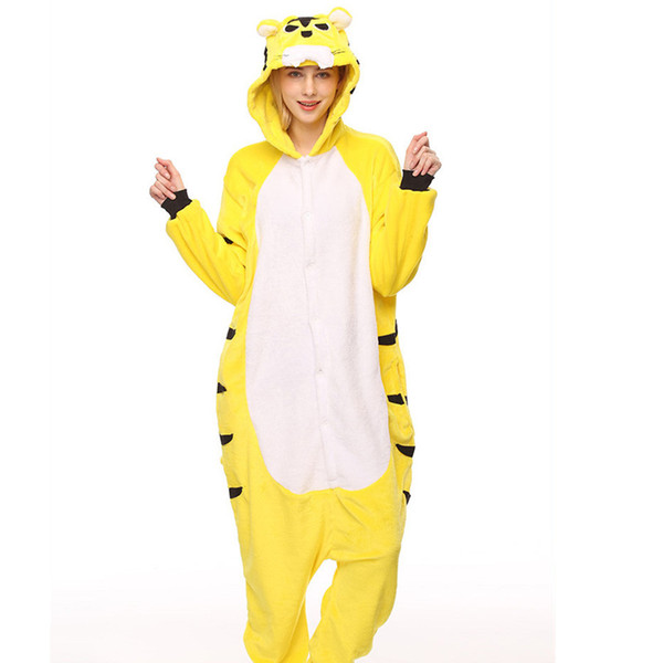 Adult's Flannel Kigurumi Yellow Tiger Animal Pajamas Unisex Onesie Costume for Halloween Carnival New Year Party