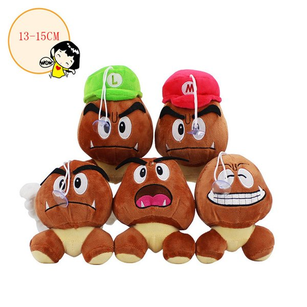 New 5 Style Super Mario Bros Goomba Soft Toy Plush Doll Collection & For Kids Holiday Best Gift ( Size: 13-15cm )