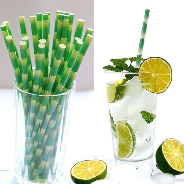 Paper Straws Disposable Bamboo Straws 19.5cm Bubble Tea Thick Straight Drinking Straw Eco-Friendly Drinking Tool For Beer Fruit Juice Drink