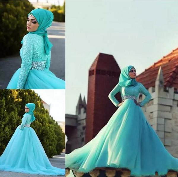 Muslim Arabic Bridal Wedding Dresses Long Sleeves Hijab High Neck Middle East Arab Wedding Gowns With Sparking Crystal Belt Casamento