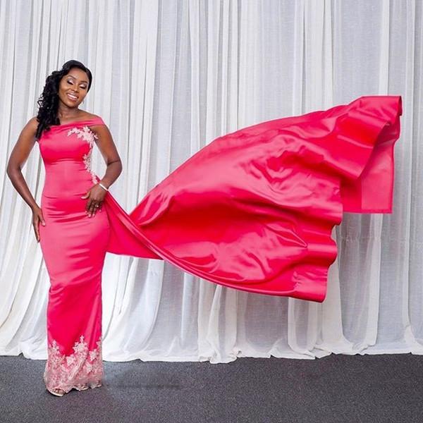 One Shoulder Sheath Formal Evening Dresses Off the Shoulder African Evening Gowns with Appliques Back Slit with Train abendkleider 2019