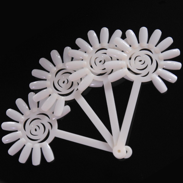 10PCS Transparent/Natural Fan Board Display Nail Art Tips False Round Hoop Stick Practice for Polish Gel Showing Tools