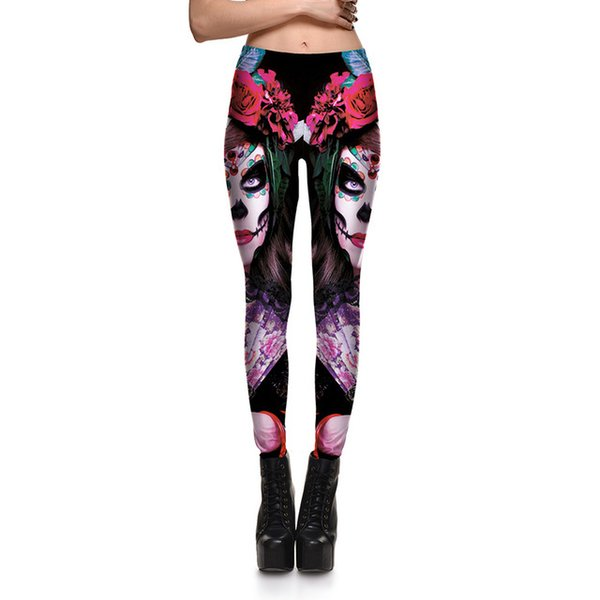 Fashion Dead Girl Skull Women Legging High Quality Halloween Party Workout Fitness Plus Size Leggings